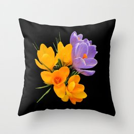 Think Flowers - Crocuses Throw Pillow