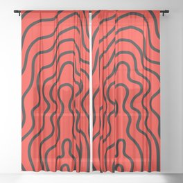 Music Line Vibes Ruby Red Sheer Curtain