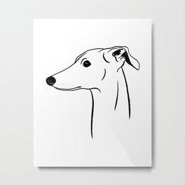 Italian Greyhound (Black and White) Metal Print