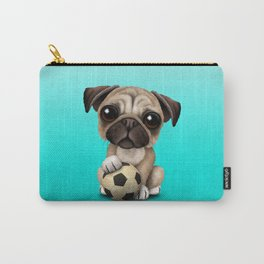 Cute Pug Puppy Dog With Football Soccer Ball Carry-All Pouch