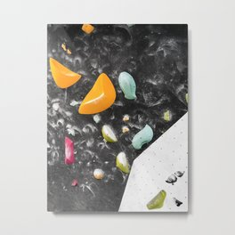 Colorful summer bouldering gym wall climbing holds girls Metal Print