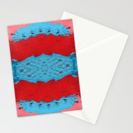 Red Stream Marble Painting Stationery Cards