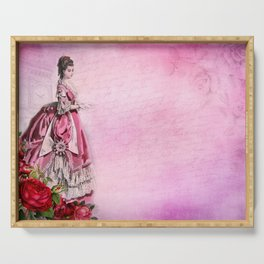 Pink Renaissance Gothic Vintage Lady in Dress Serving Tray