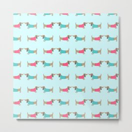 Cute dog lovers in mint background Metal Print