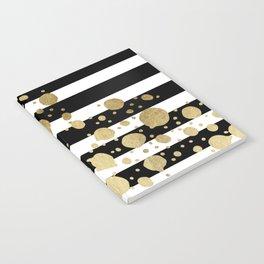 Faux Gold Paint Splatter on Black & White Stripes Notebook
