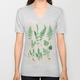 Ferns on Cream I - Botanical Print Unisex V-Neck