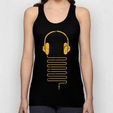 Gold Headphones Unisex Tank Top