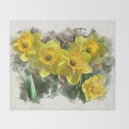 Watercolor Daffodils Throw Blanket