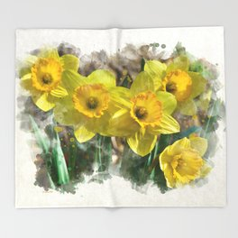 Watercolor Daffodils Throw Blanket