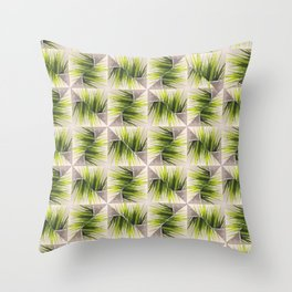 Abstract green grass and wood geometric design Throw Pillow