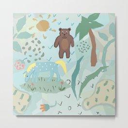 Bear and Unicorn Metal Print