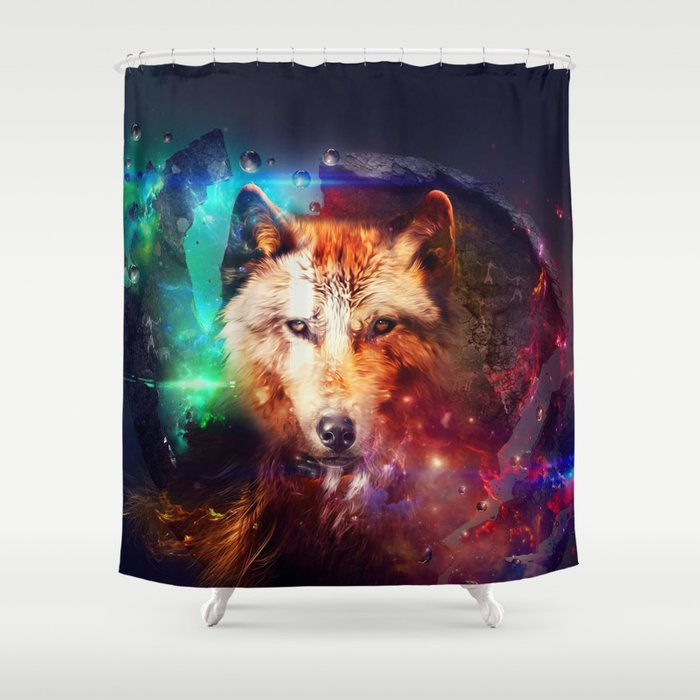 Colorfulface wolf  Shower Curtain