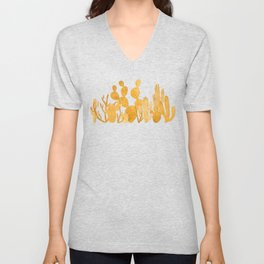 Golden cactus garden on white Unisex V-Neck