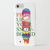 snowboard iPhone & iPod Cases featuring Fire up your snowboard by Jeff Ryu
