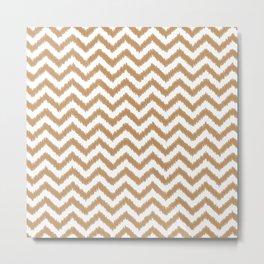 Gold Ikat Chevron Zigzag Pattern Metal Print