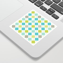 Retro 1980s Argyle Geometric Pattern in Modern Bright Colors Blue Green and Gray Sticker