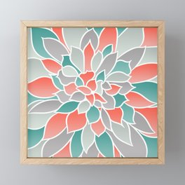 Modern Floral Prints, Coral, Teal Green and Gray Framed Mini Art Print