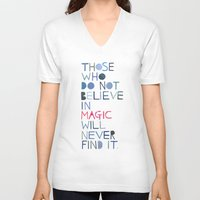 roald dahl V-neck T-shirts featuring Believe in magic... by Madi