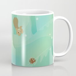 Hide and Seed (Cartoon Squirrels, Mint Green Snow Forest) Coffee Mug