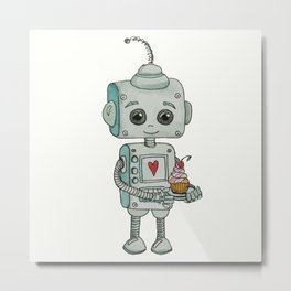 The feeling when your cute little robot brings you a cupcake in the morning :) Metal Print