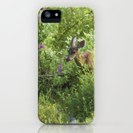 Young Doe Among The Flora painterly iPhone Case