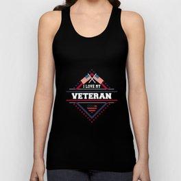 Patriotic I Love My Veteran Military Unisex Tank Top