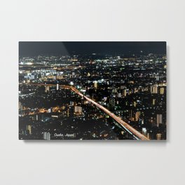 City View 'Night in Osaka, Japan' with Text Metal Print