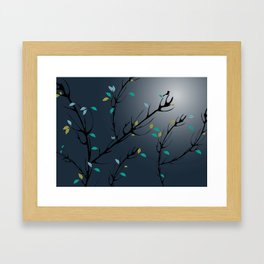 Nightingale singing in the night sky under the moonlight Framed Art Print