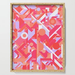 GEOMETRY SHAPES PATTERN PRINT (WARM RED LAVENDER COLOR SCHEME) Serving Tray