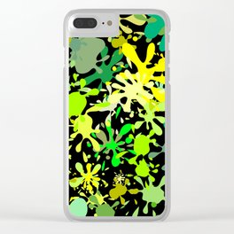 Green Ink Blots and Stains Clear iPhone Case