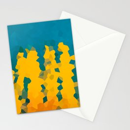 Turquoise Blue and Yellow Crystals Pattern Abstract Art Stationery Cards