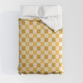 Yellow Crossings - Classic Gingham Checker Print Comforters