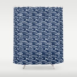 Fish // Navy Blue Shower Curtain