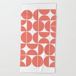 Mid Century Modern Geometric 04 Living Coral Beach Towel