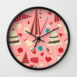 Vintage Christmas Pink Wall Clock