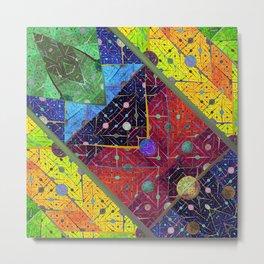 Trapeze Multicolor Diagonal Abstract Metal Print