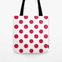 Tote Bags featuring Polka Dots (Crimson/White) by 10813 Apparel