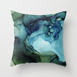 Land and Water Abstract Ink Painting Blues and Greens Throw Pillow