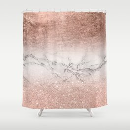 Modern faux rose gold glitter and foil ombre gradient on white marble color block Shower Curtain