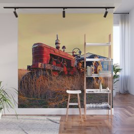 old tractor red machine vintage Wall Mural