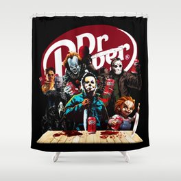 Funny Halloween Horror Characters Drinking Dr Pepper Shower Curtain