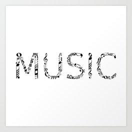Music typo Art Print