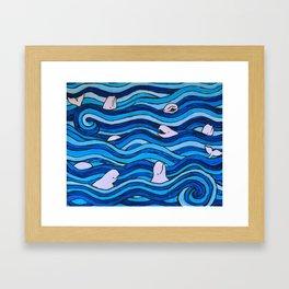 Blissful Belugas Framed Art Print