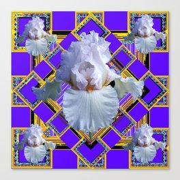 ART DECO WHITE IRIS PURPLE ART Canvas Print