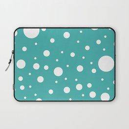 Mixed Polka Dots - White on Verdigris Laptop Sleeve