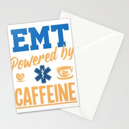EMT Powered By Caffeine Caffee Nurse EMS Paramedic Doctor Medicine Gift Stationery Cards