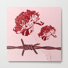 Barbed Wire Peony Print Metal Print