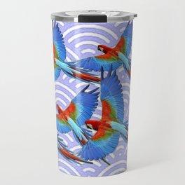 MODERN ART BLUE & RED TROPICAL MACAWS IN FLIGHT ART f Travel Mug