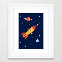 spaceship Framed Art Prints featuring Spaceship! by Doodle Dojo