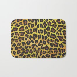 Leopard Brown and Yellow Print Bath Mat